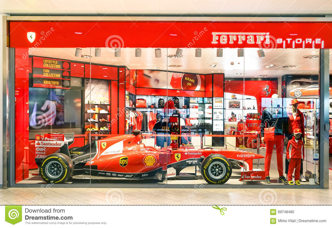 ferrari store with f1 car at guglielmo marconi airport editorial image image of expensive