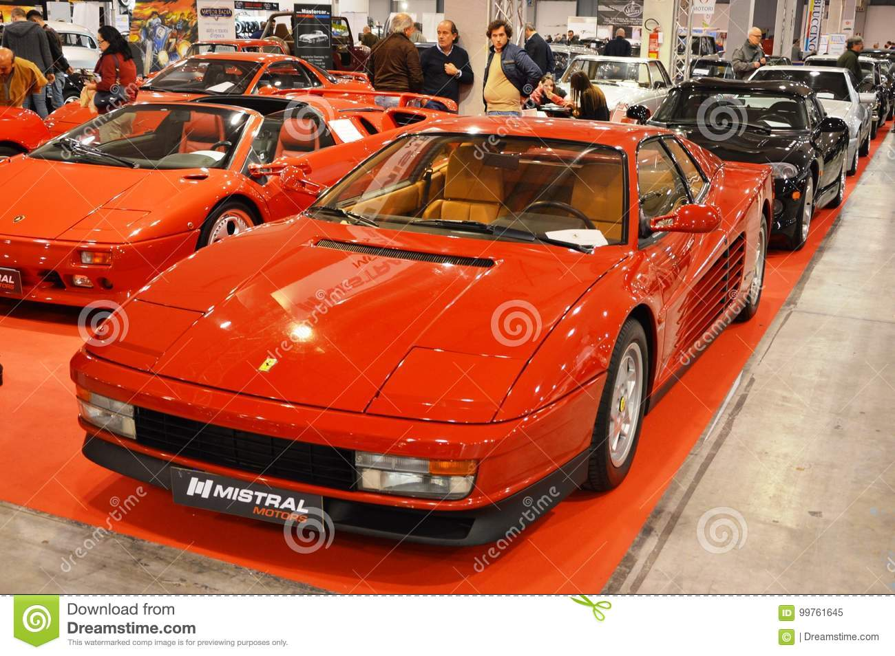 Ferrari Testarossa Color Red Year 1991 At Vintage Car Exposition In Padova 2015 Editorial Image Image Of Classic Ride 99761645