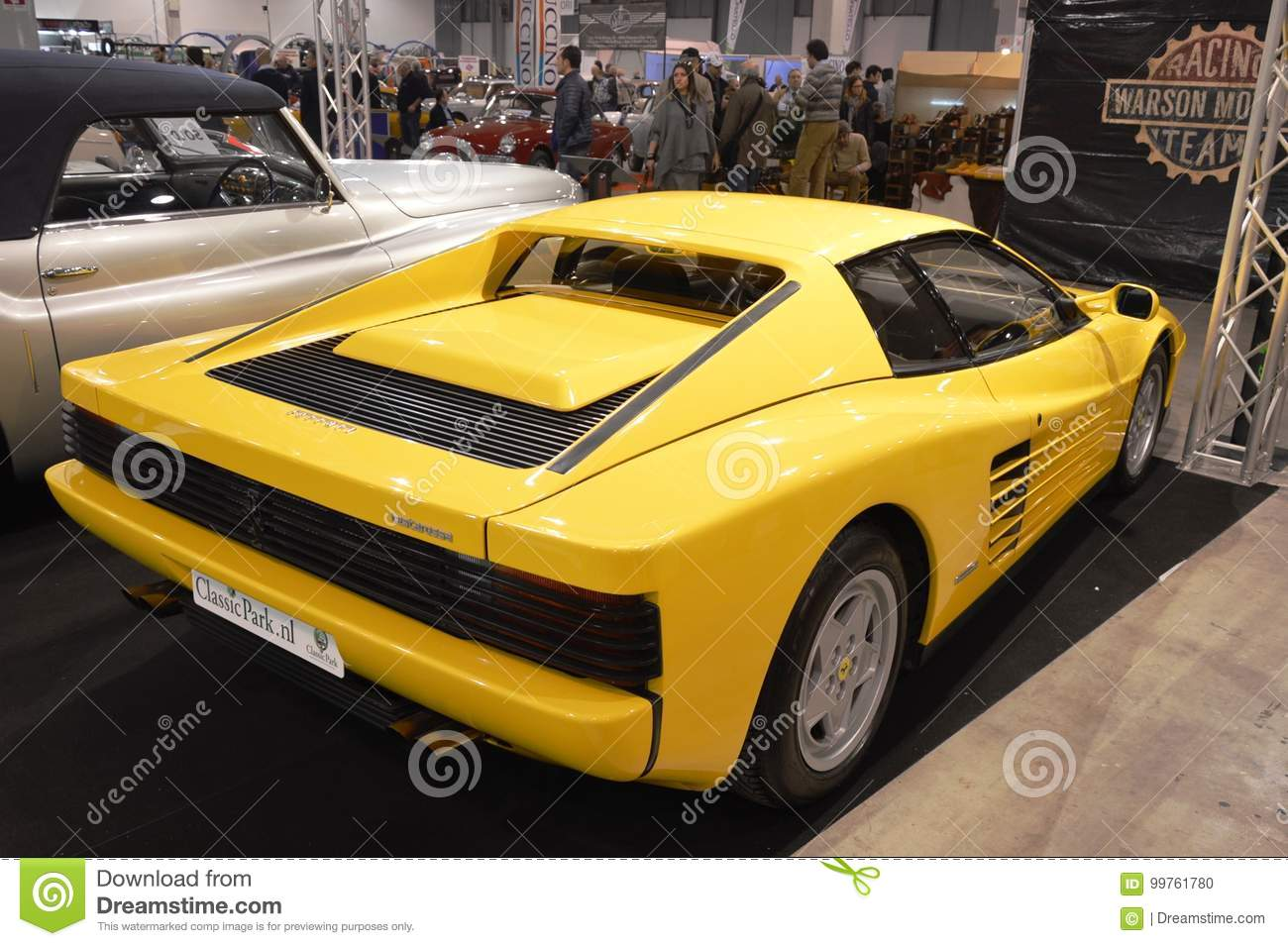 Ferrari Testarossa Color Yellow Year 1991 At Vintage Car Exposition In Padova 2015 Editorial Image Image Of Show Elegant 99761780