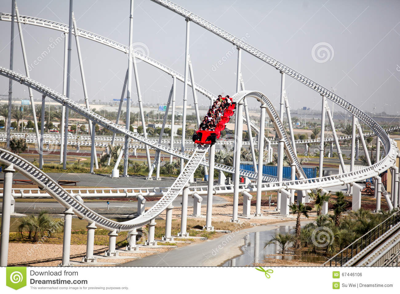 Ferrari World Roller Coaster Editorial Photo Image Of Modern Architecture 67446106