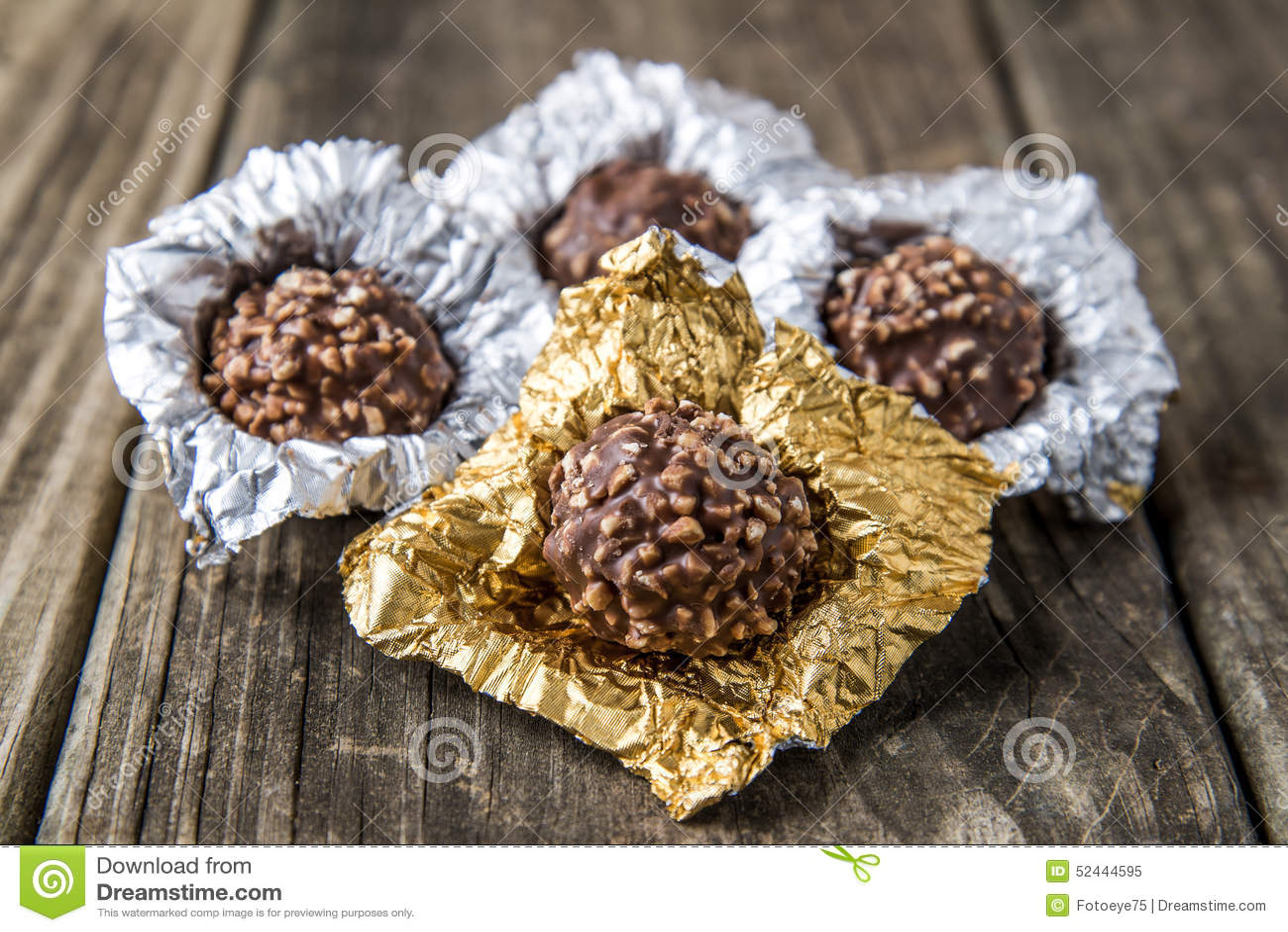 Ferrero Rocher Chocolate Hazelnut Candy In Gold Foil Stock Photo ...