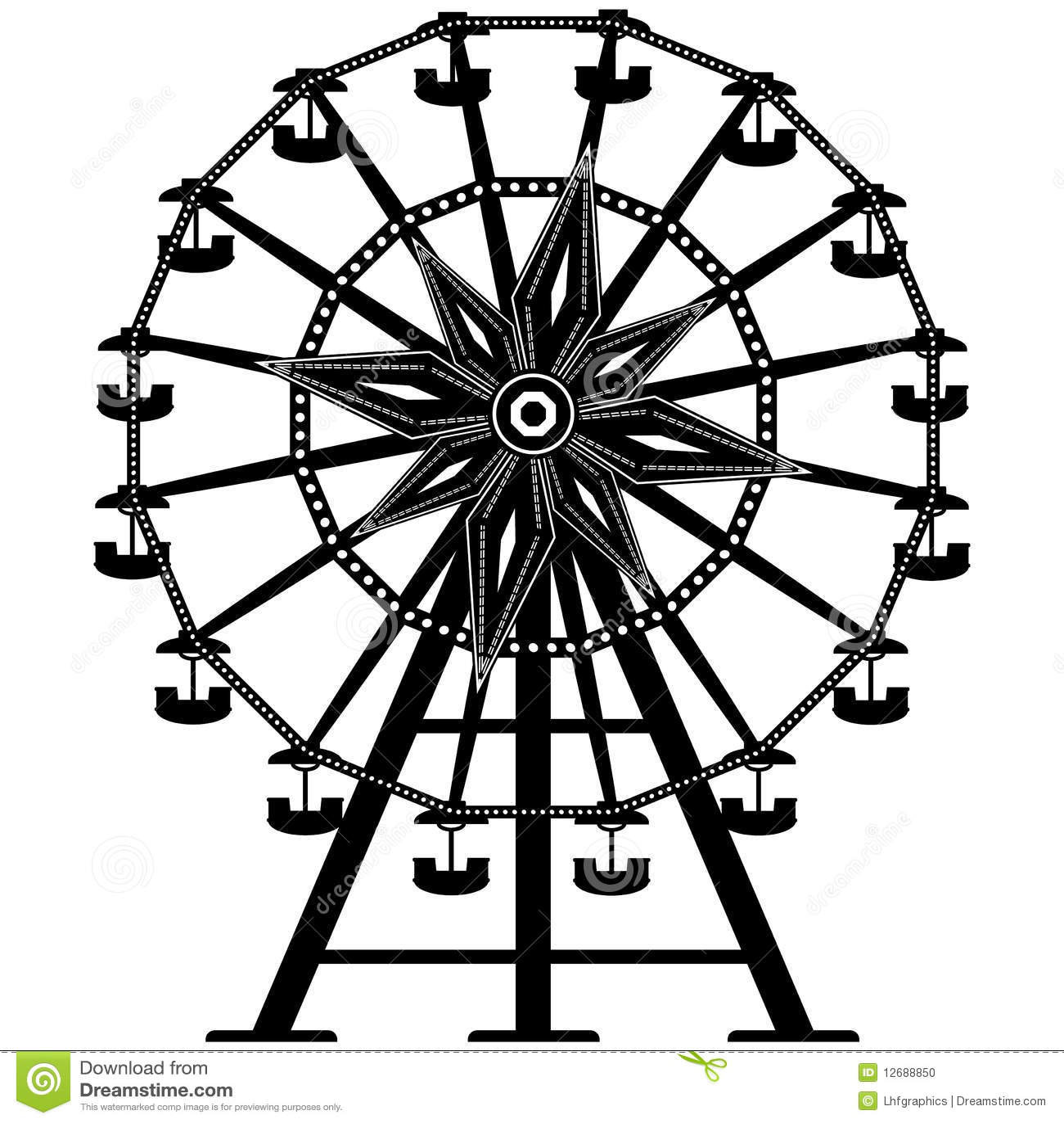 Ferris detallado rueda adentro la silueta