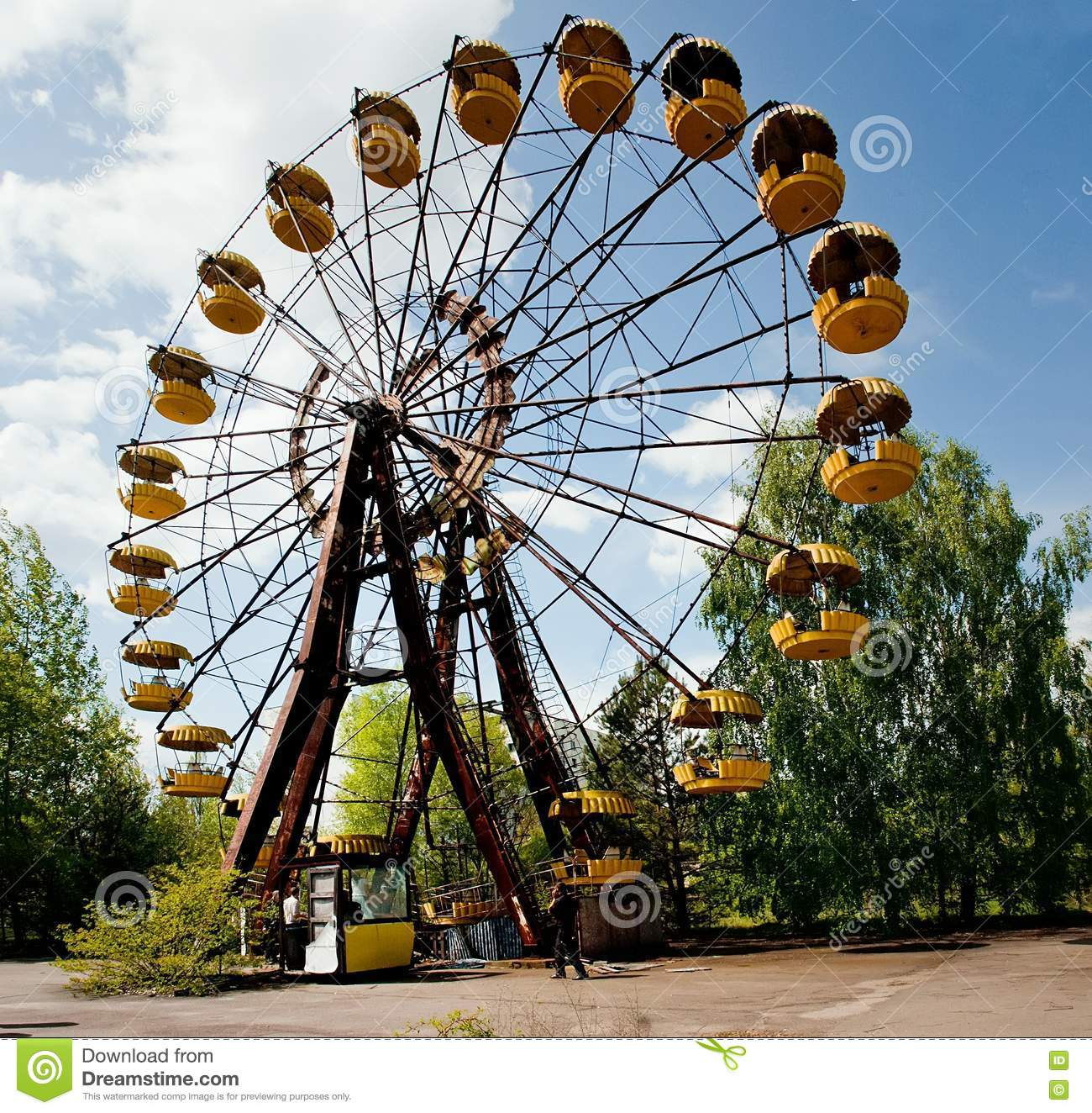 Ferris Wheel In Abandoned Amusement Park In Pripyat Town