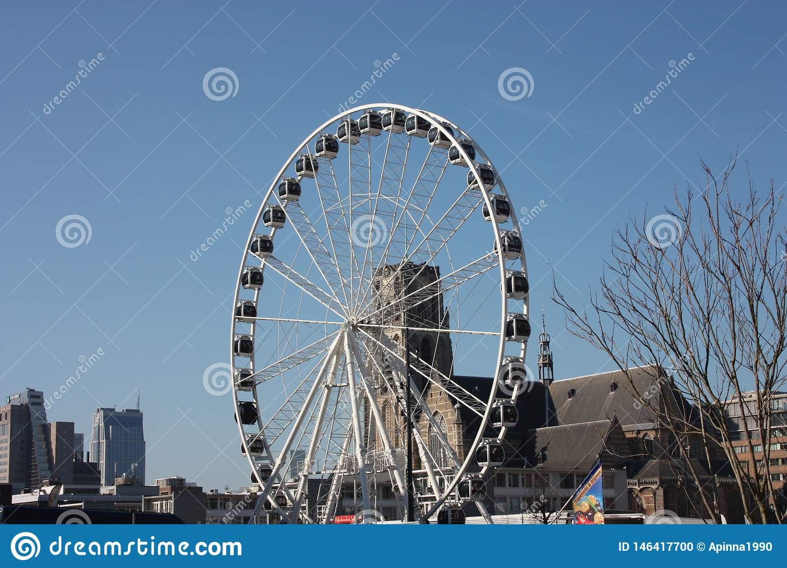 Ferris wheel in the central square of Rotterdam
