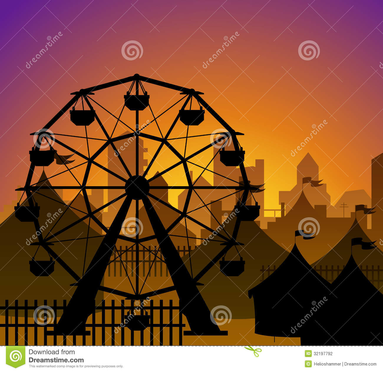 Ferris Wheel And Circus Silhouette Stock Vector ...