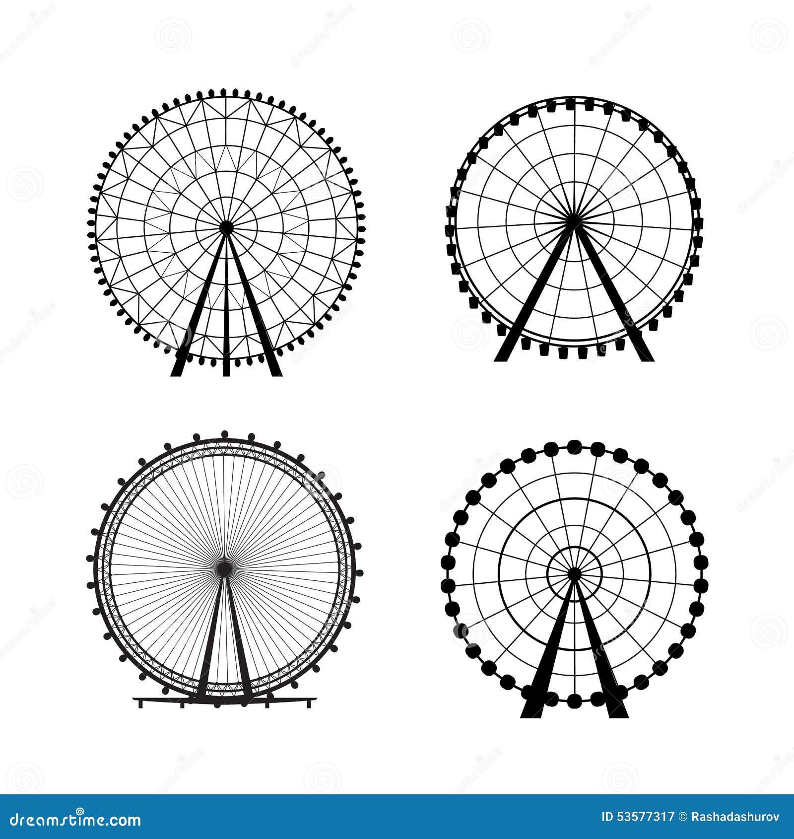 Ferris Wheel del parque de atracciones, silueta del vector