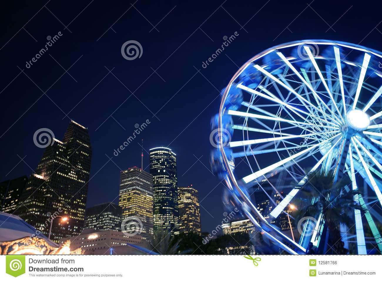 Ferris wheel at the fair night lights in Houston