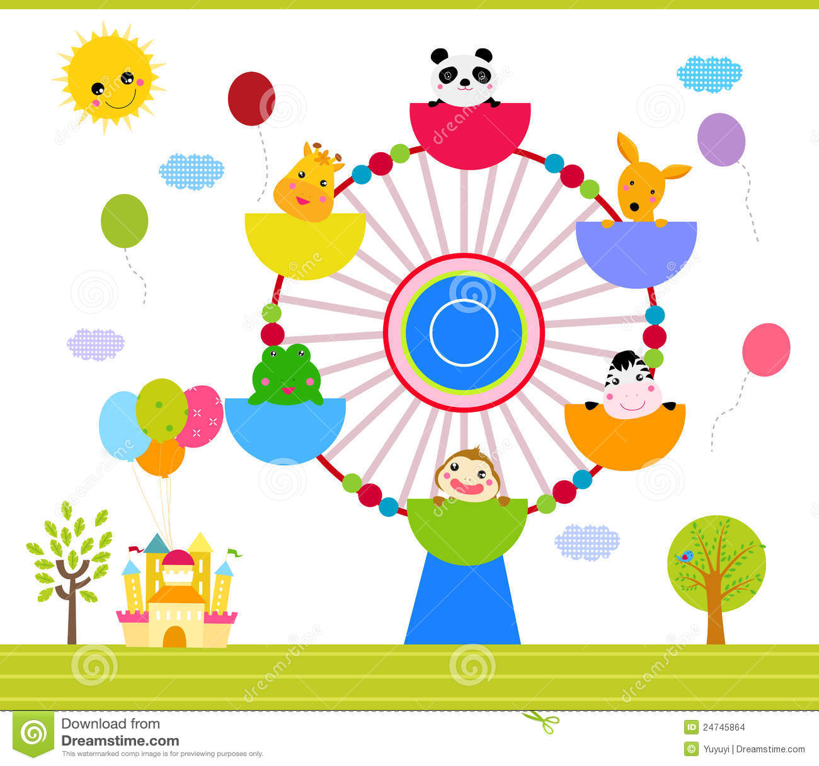 Ferris Wheel With Happy Animals Stock Images - Image: 24745864