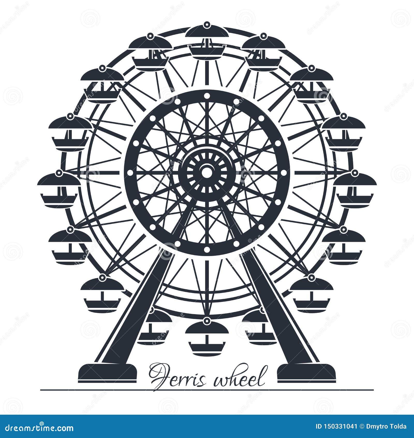 Ferris Wheel Icono del vector aislado en blanco