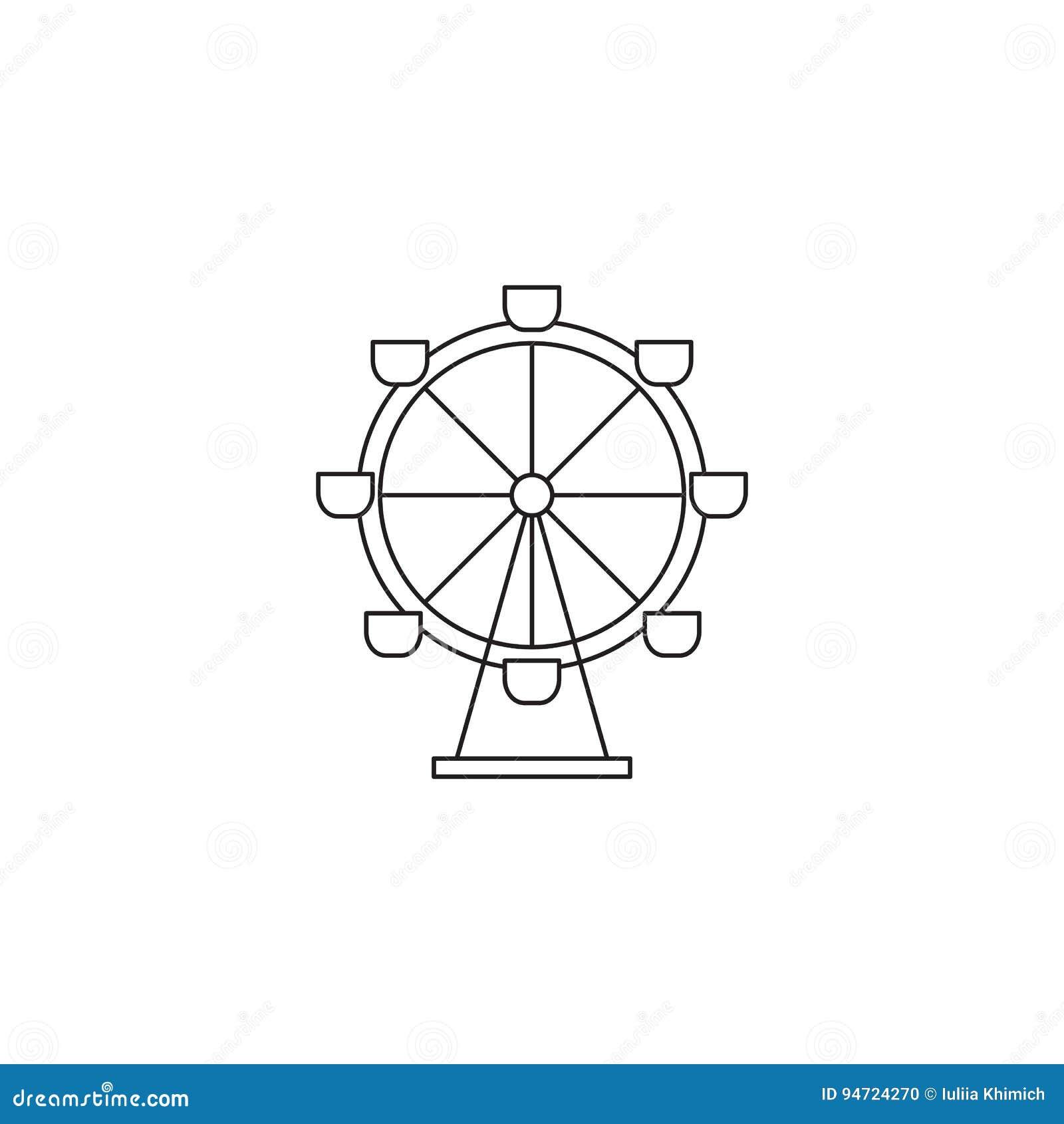 Ferris Wheel Line Icon Stock Vector Illustration Of Entertainment 94724270