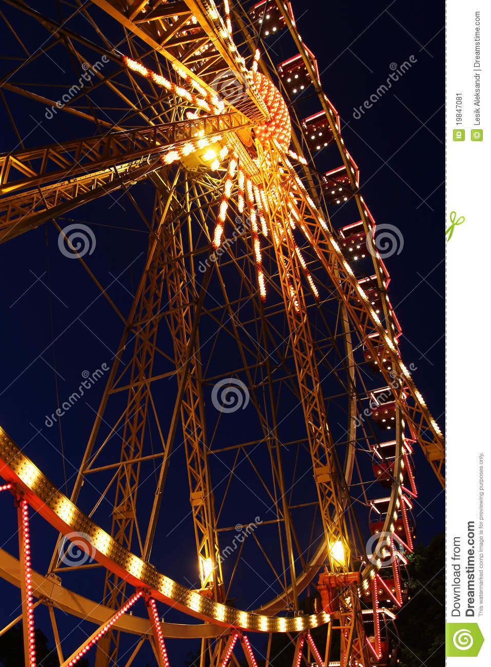 Download Ferris wheel at night stock image. Image of funfair, height - 19847081