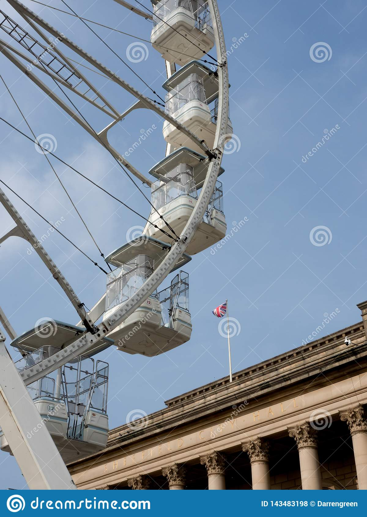 Ferris wheel outside Sheffield City Hall