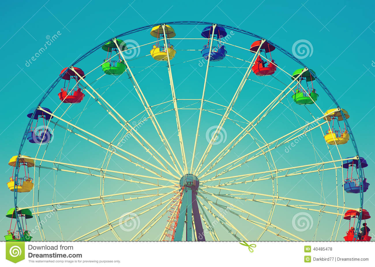 Ferris wheel in retro vintage style