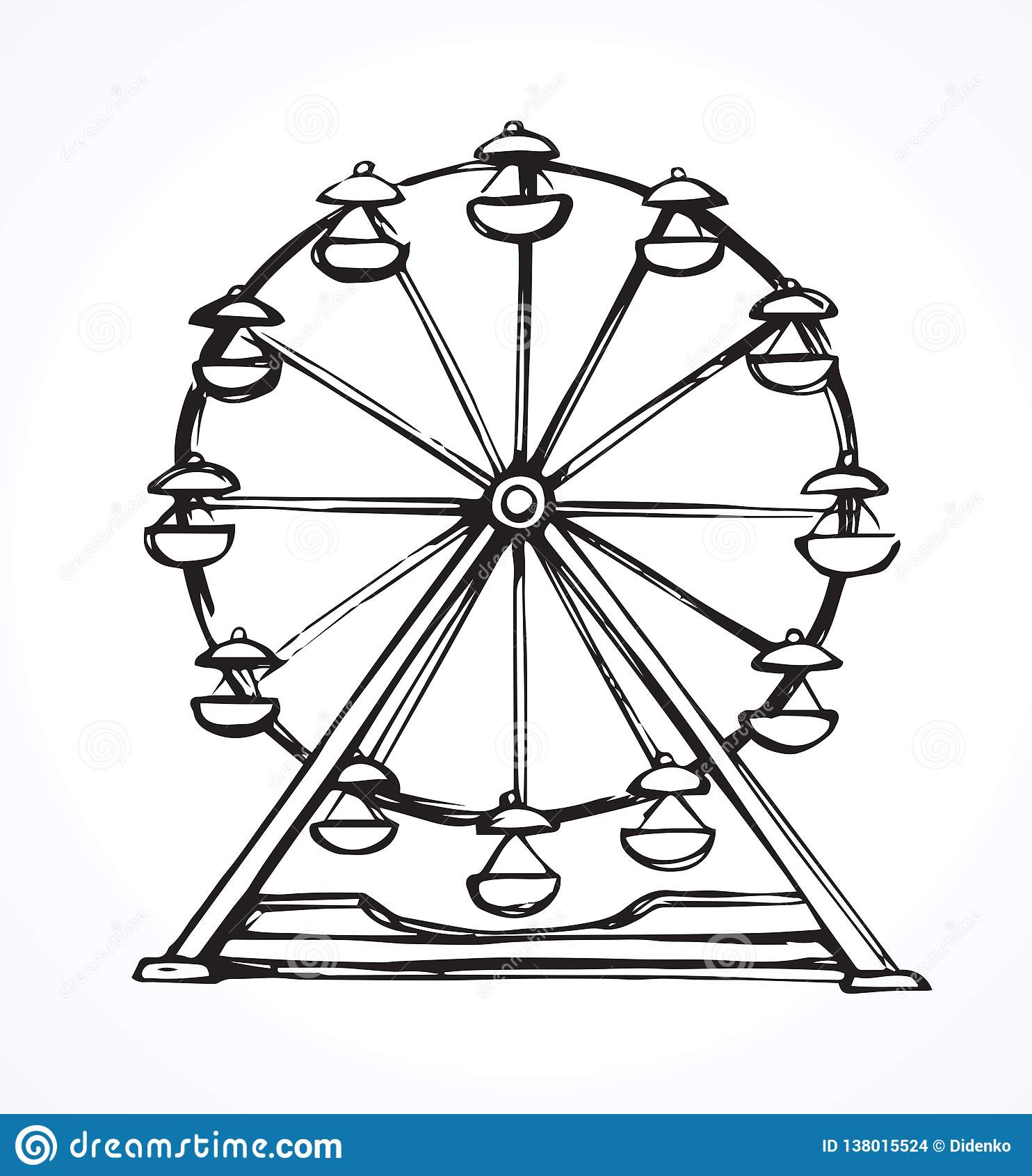 Ferris Wheel Vector Drawing Stock Vector Illustration Of Graphic Funfair 138015524