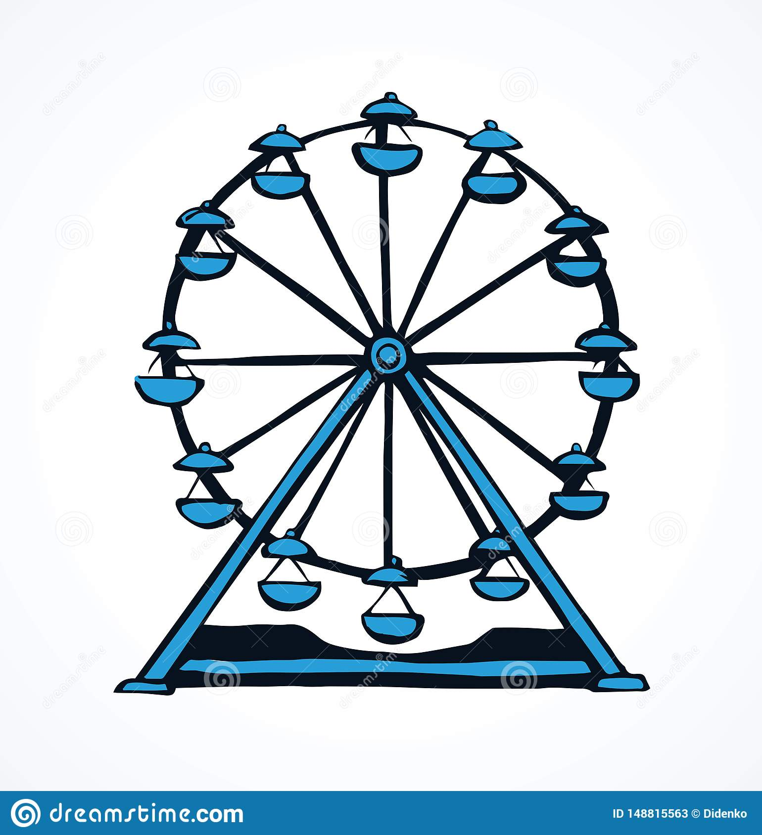 Ferris Wheel Vector Drawing Stock Vector Illustration Of High Child 148815563