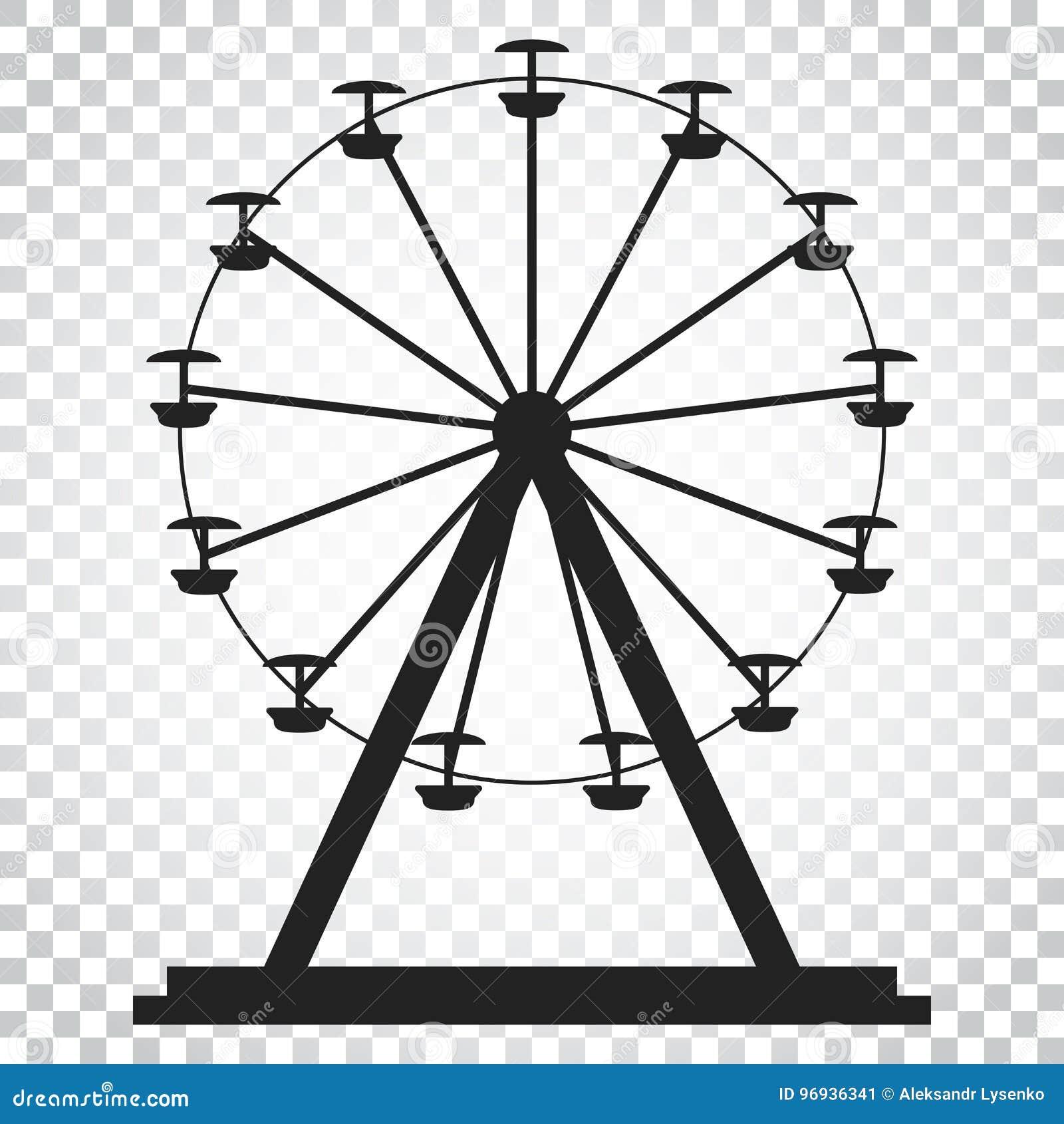 Ferris Wheel Vector Icon Carousel In Park Icon Amusement Ride Stock Vector Illustration Of Carousel Funfair 96936341