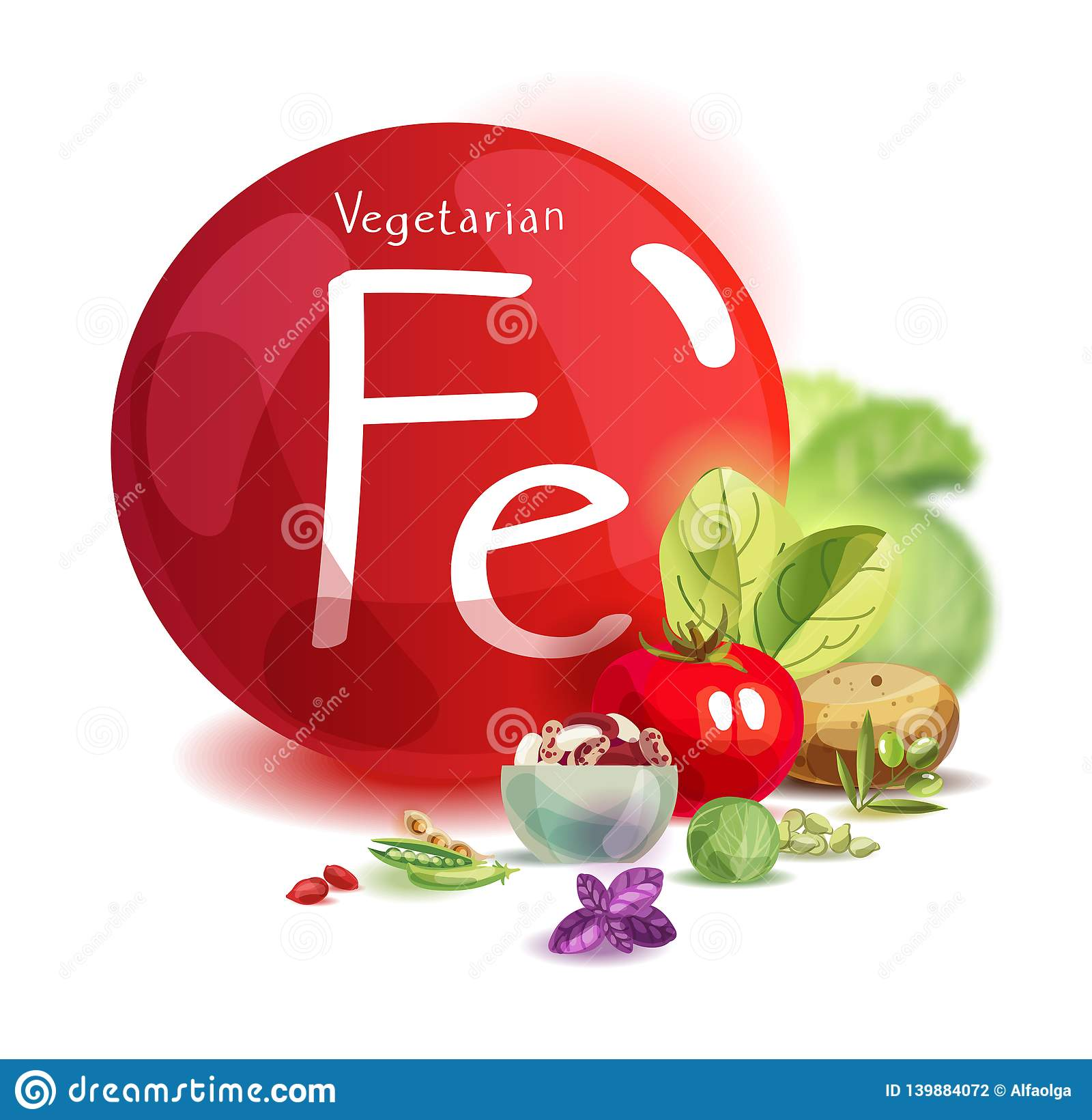 Ferro mineral na nutrição do vegetariano Alimentos de planta altos no ferro Princípios de comer saudável