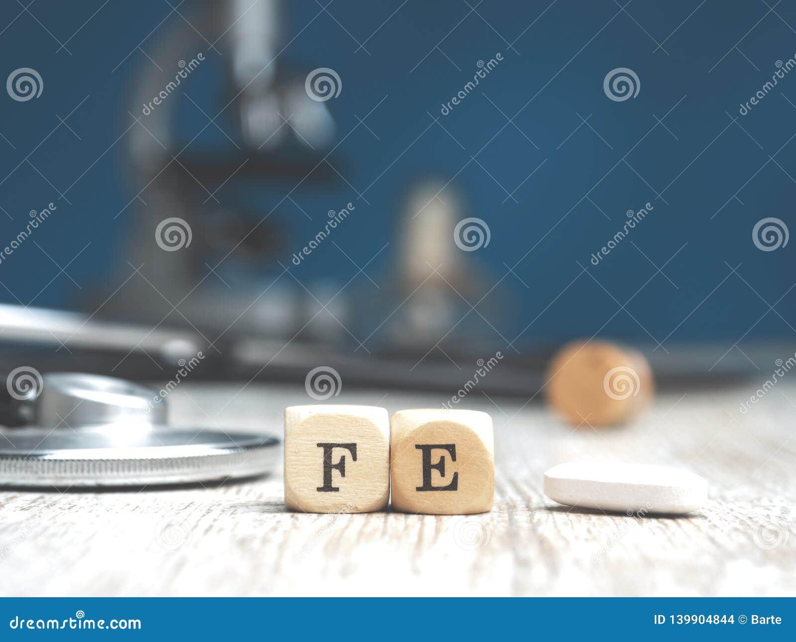 Ferro periódico da palavra nos blocos de madeira