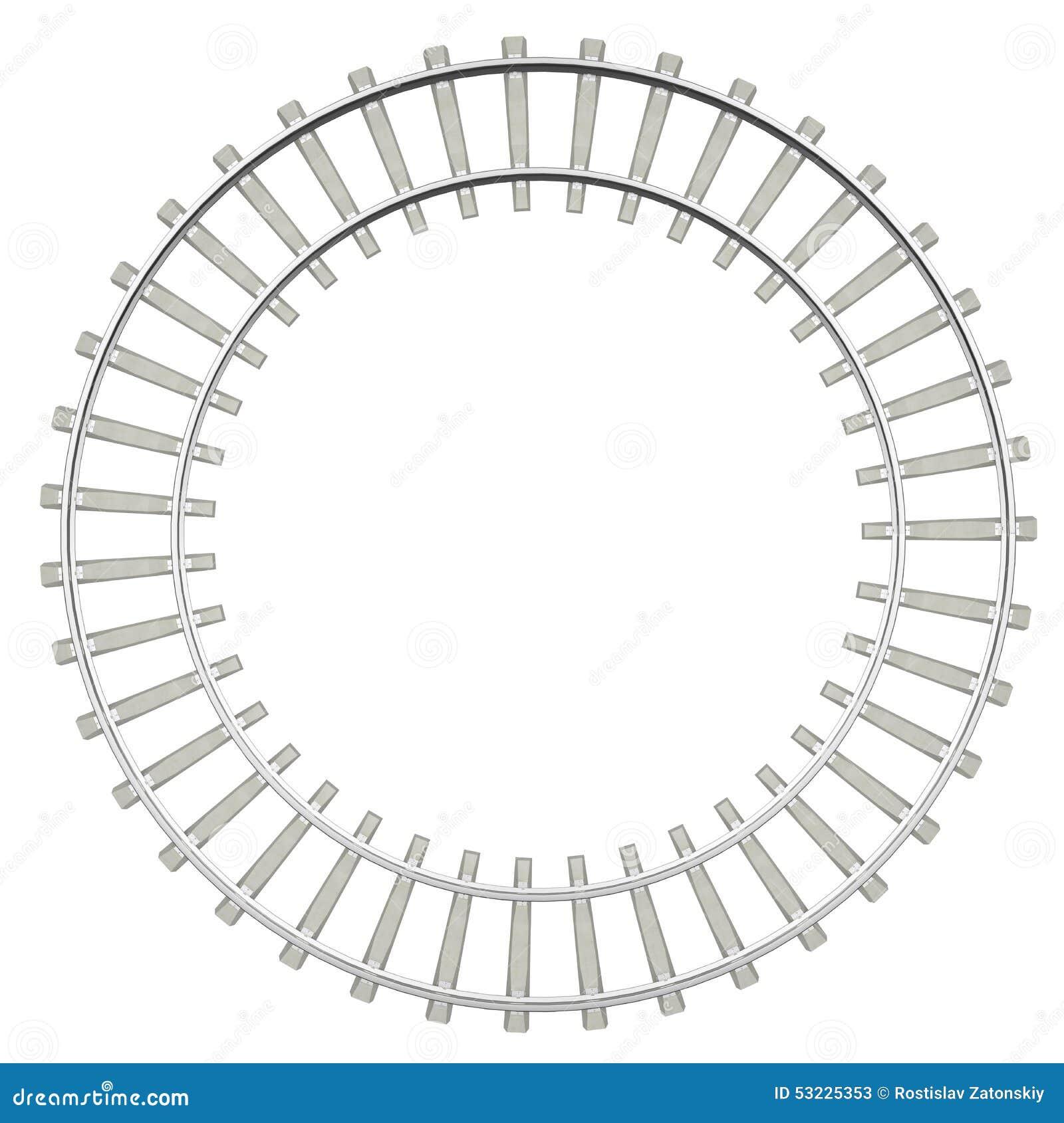 Ferrocarril del círculo aislado en el fondo blanco