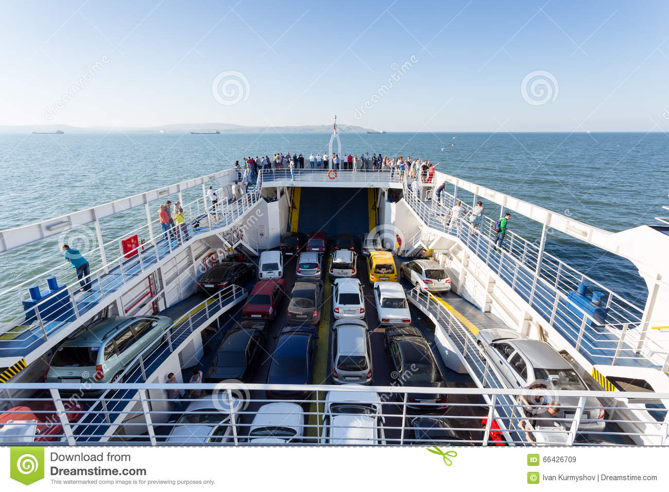 Ferry With Cars And People Swimming Through The Sea Strait Editorial Stock Image Image 66426709