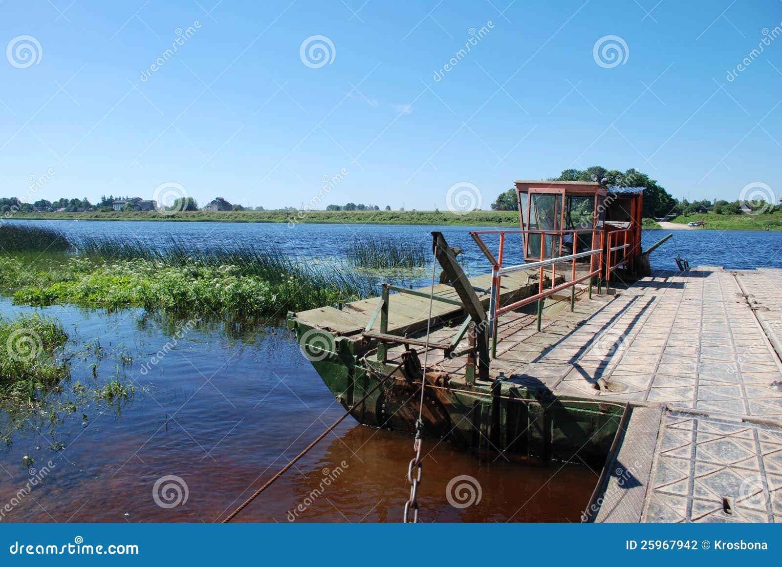 Ferry crosses a Daugava river