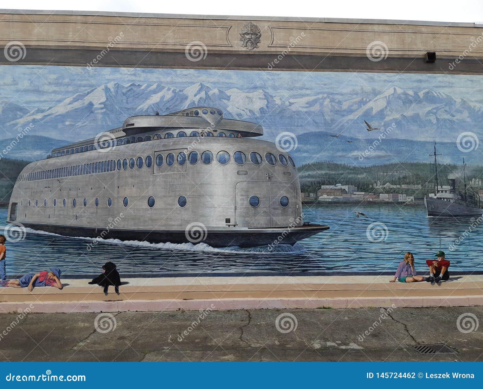 Ferry De Représentation Mural D Art Déco Dans Angeles Gauche