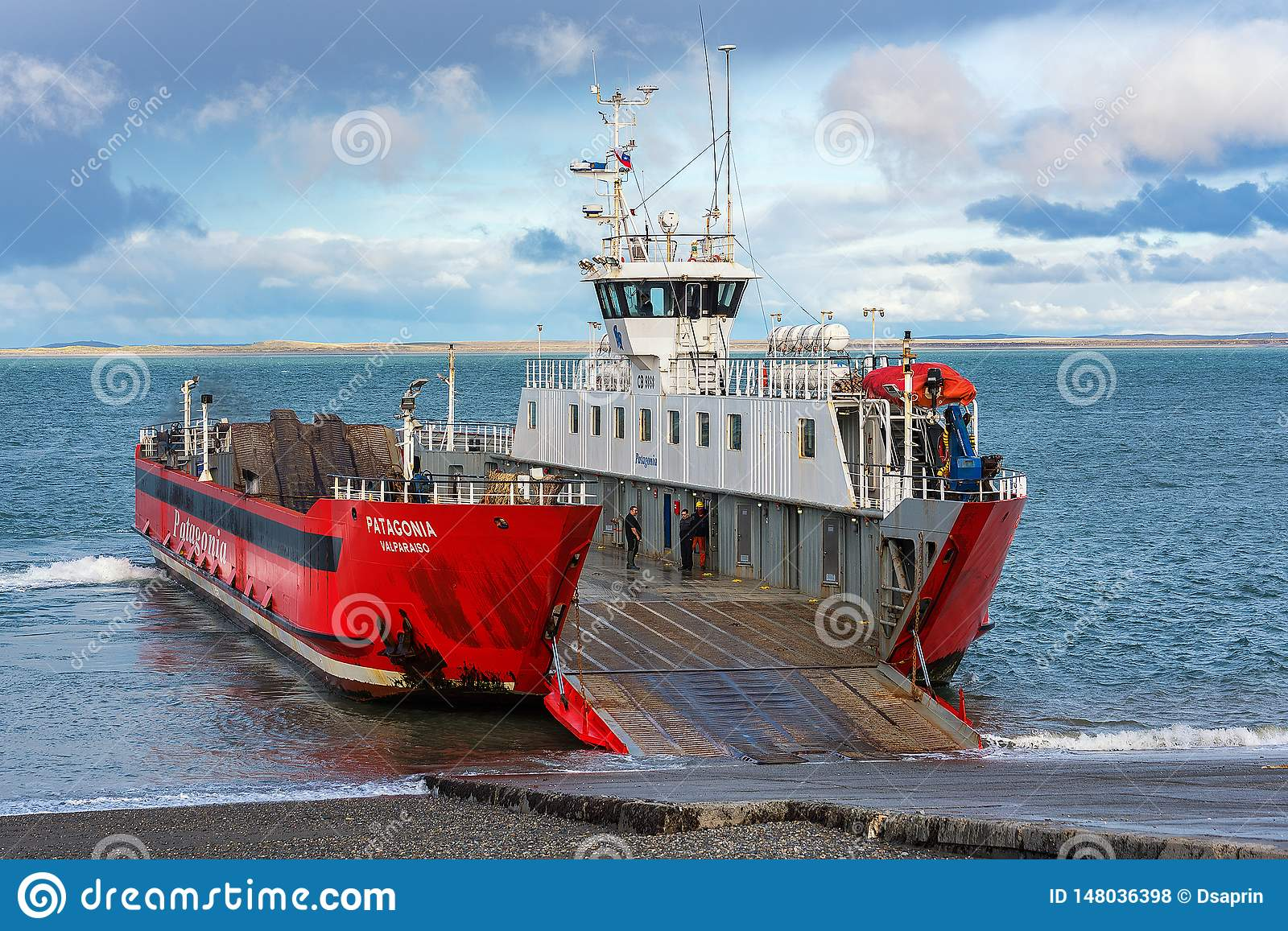 Ferry over Magellan strait between Tierra del Fuego island and mainland, Chile