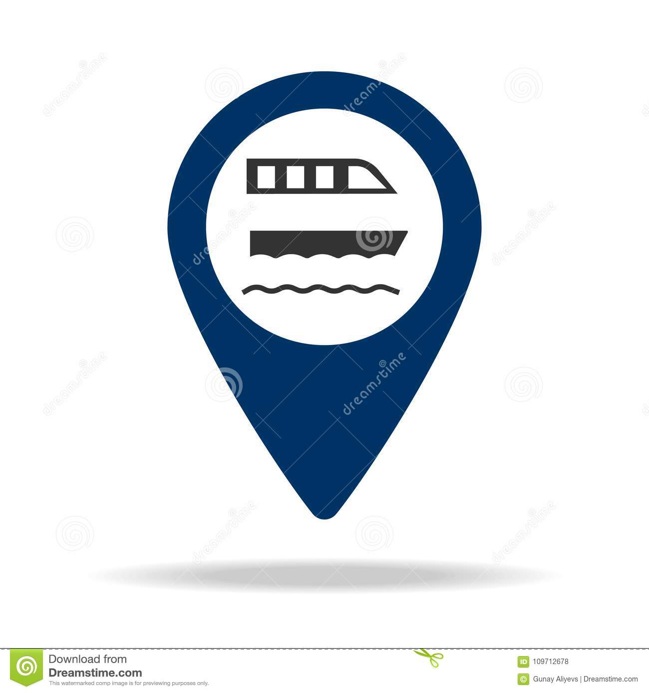 Ferry Parking Place In Blue Map Pin Icon  Element Of Map Point For