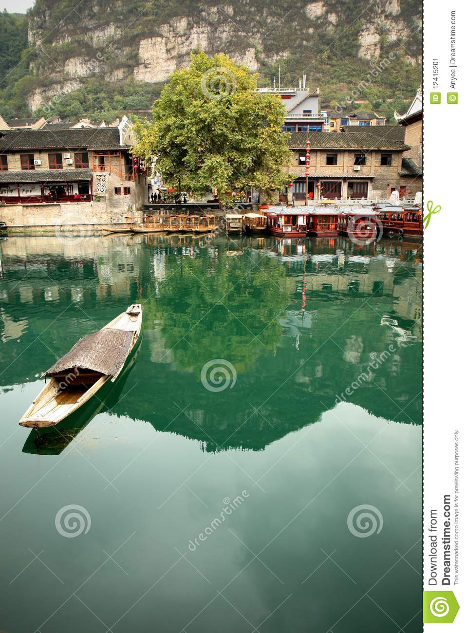 Zhenyuan (Guizhou) China  city images : Ferry in ZhenYuan Ancient City, GuiZhou,China. People must take boat ...