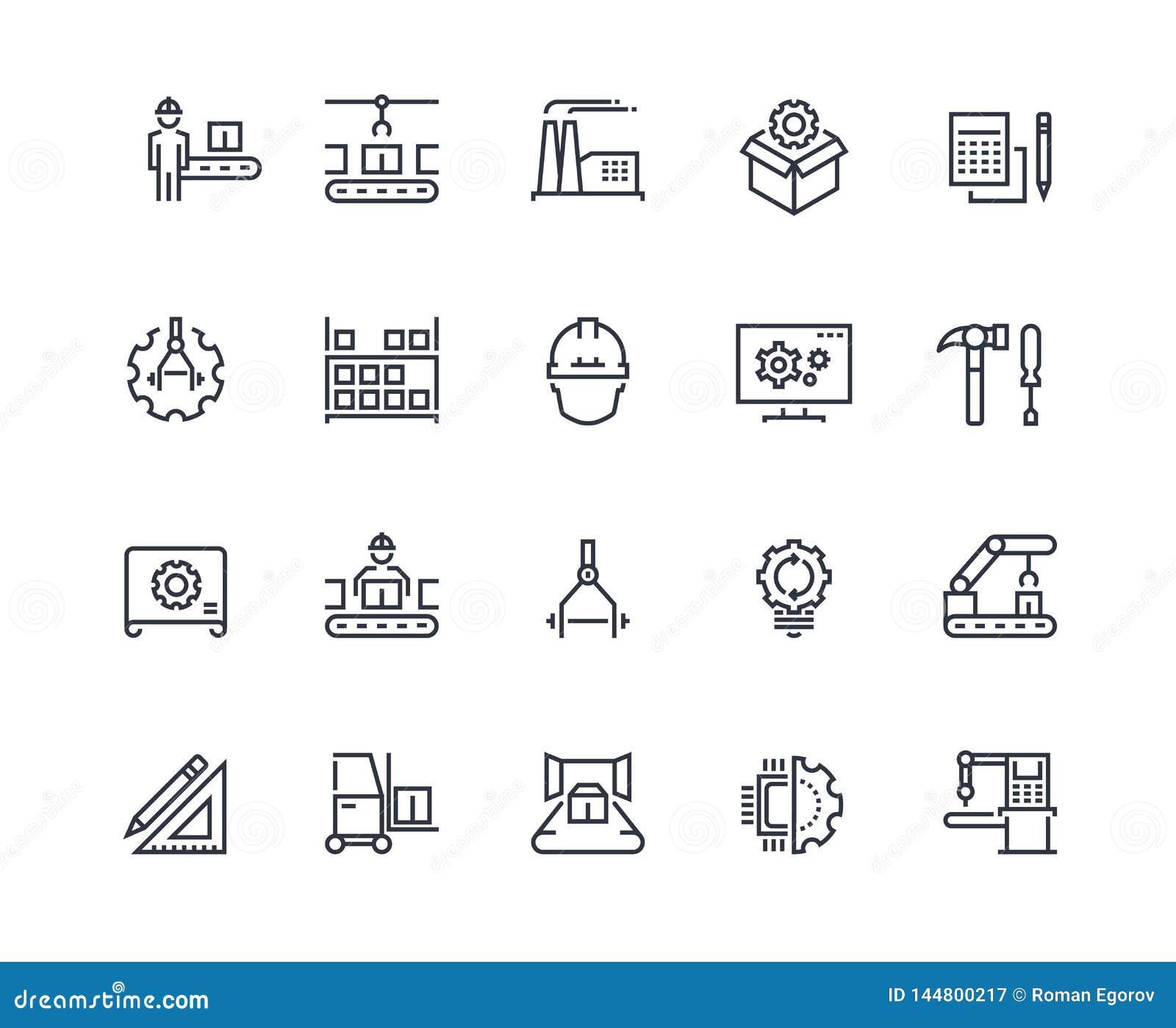 Fertigungsstra?e-Ikonen Maschinelle Herstellung der Industrie, Fabrikf?rdererlinie, automatischer Robotermanipulator industriell