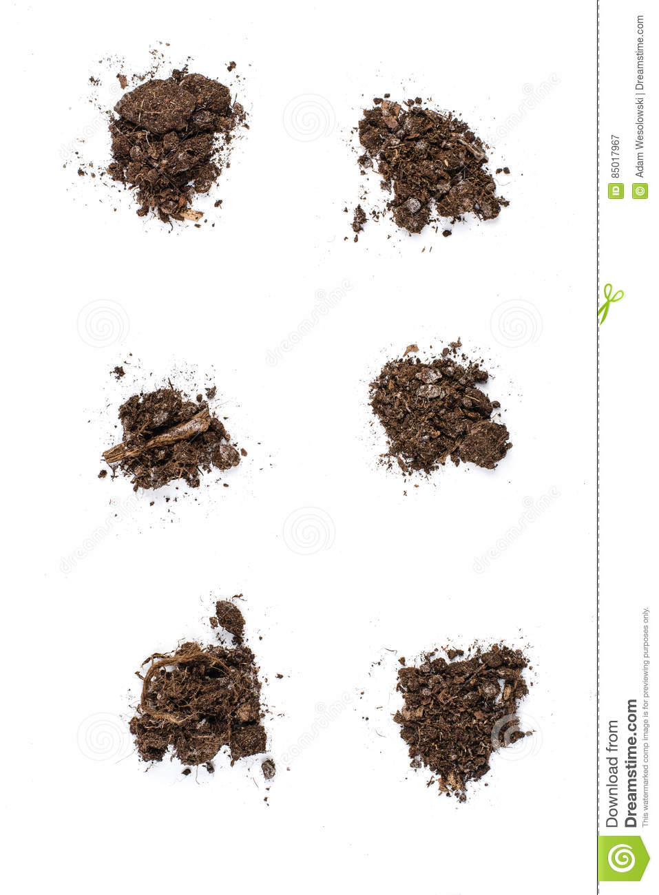 Fertile Garden Soil Texture Background Top View Isolated On White
