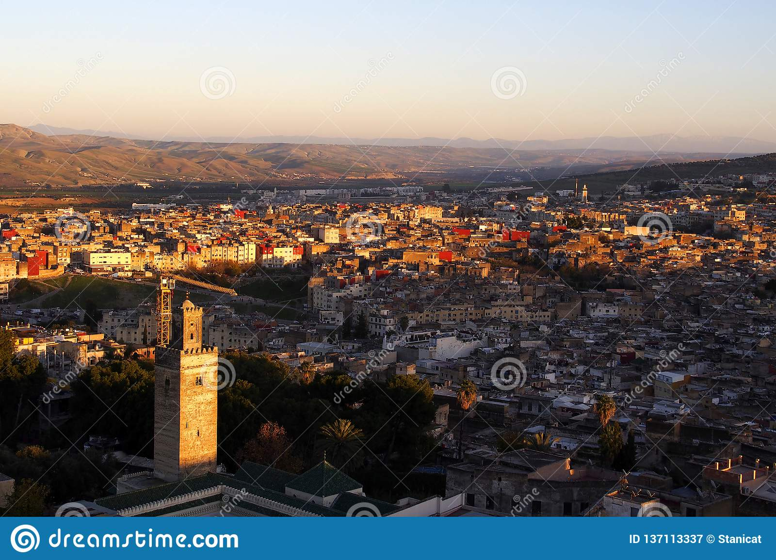 Fes Marocco cityscape on the sunset