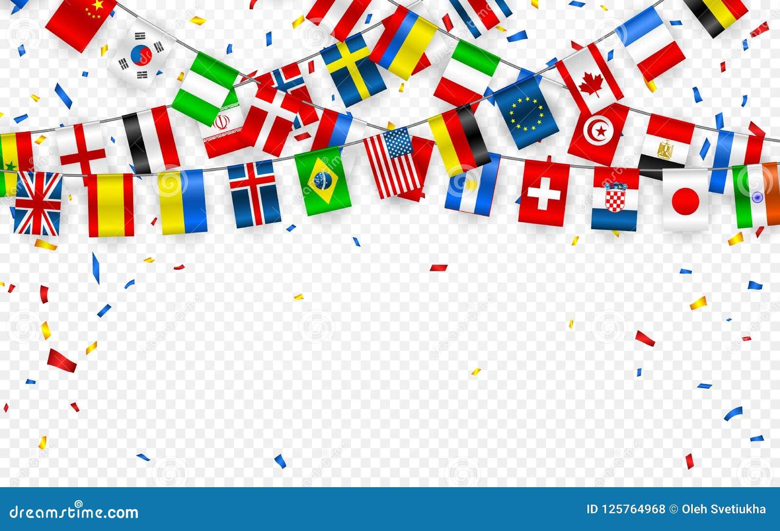 Festão colorida das bandeiras de países diferentes da Europa e do mundo com confetes Festões festivas da flâmula internacional