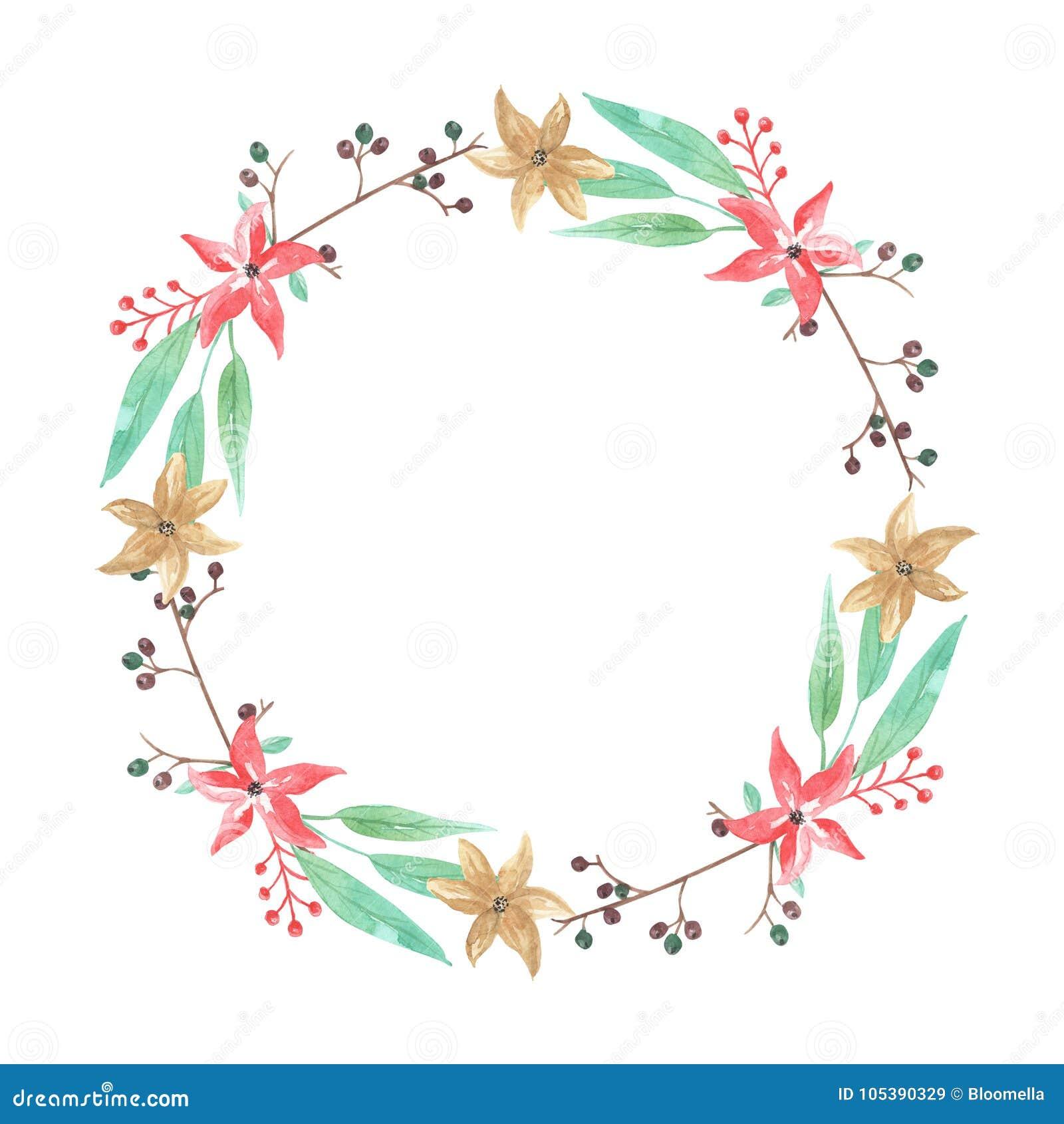 Festão floral da grinalda de Yule Christmas Berries Flowers Winter da aquarela