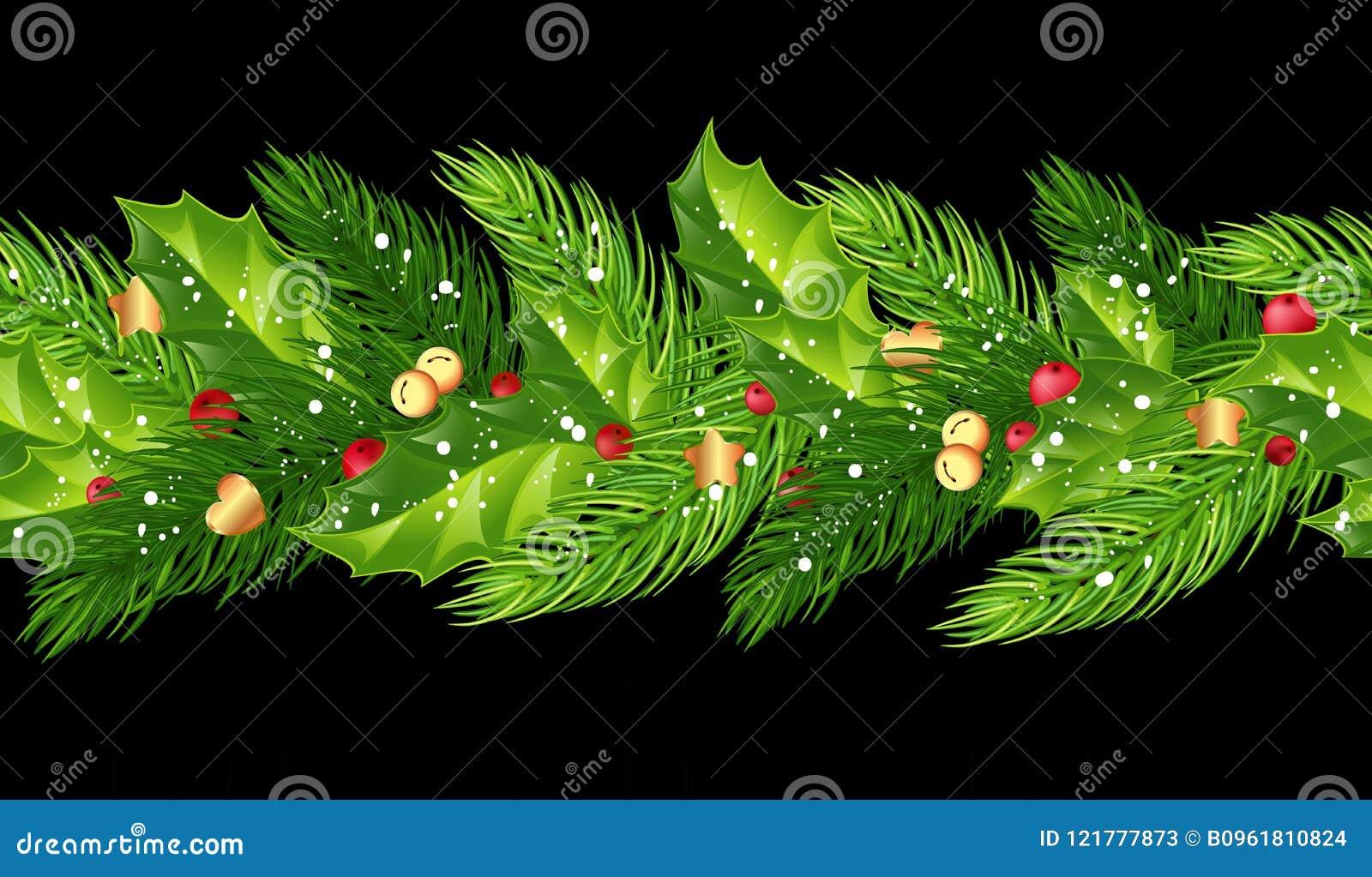 A festão sem emenda do Natal com abeto ramifica, azevinho, bagas, b