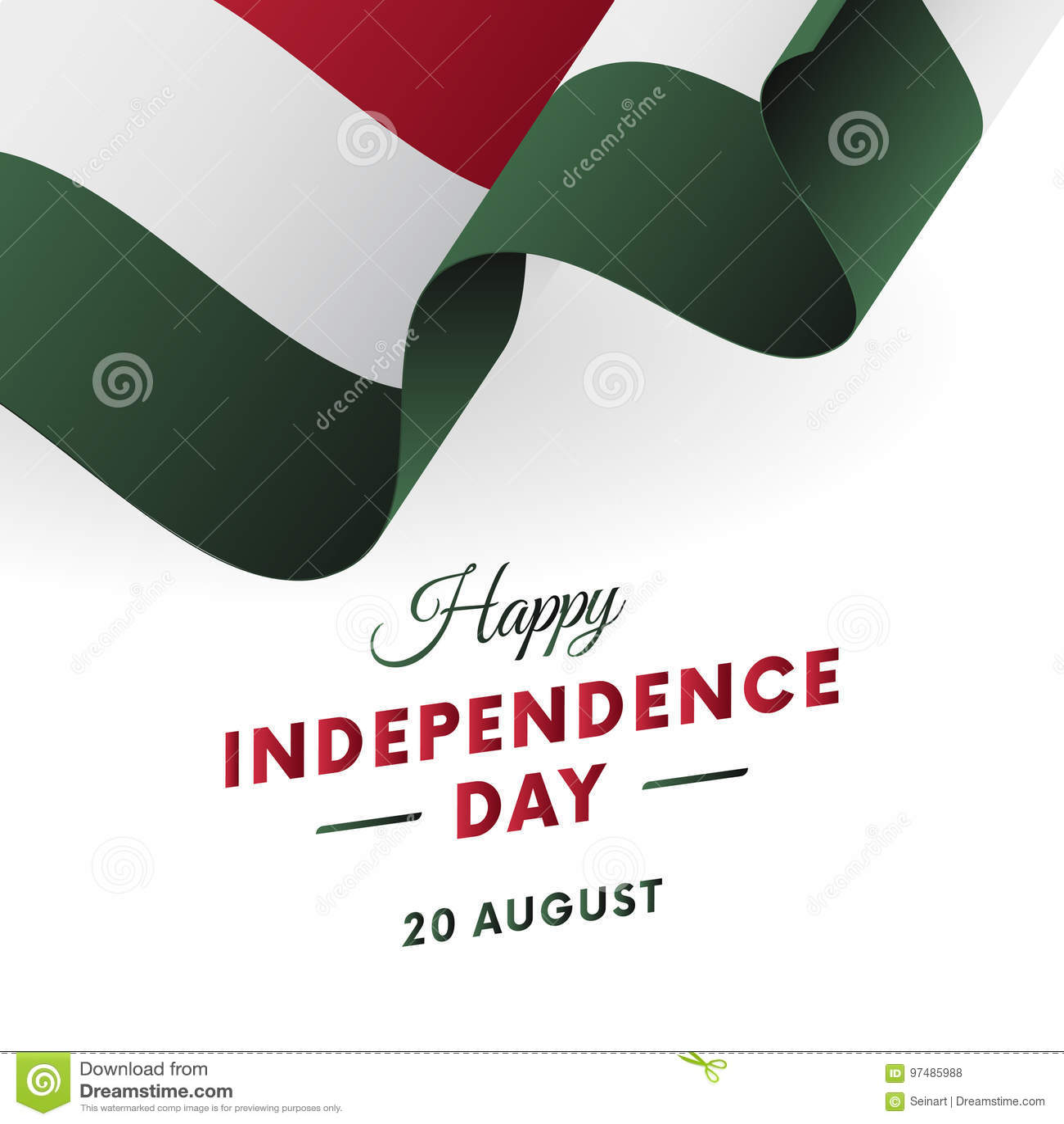 Festa dell indipendenza dell Ungheria 20 agosto bandiera d ondeggiamento Vettore