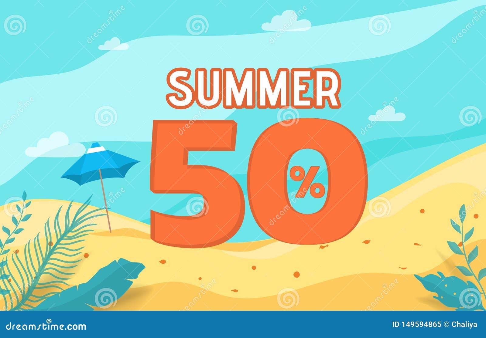Festa dell insegna di vendita di estate con la scena della spiaggia Vacanza di estate