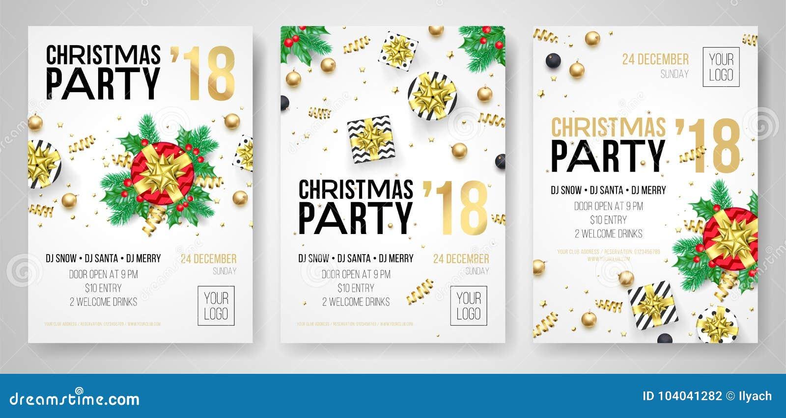 Festa di Natale manifesto dell invito di celebrazione di 2018 nuovi anni dei modelli di progettazione dell aletta di filatoio Reg