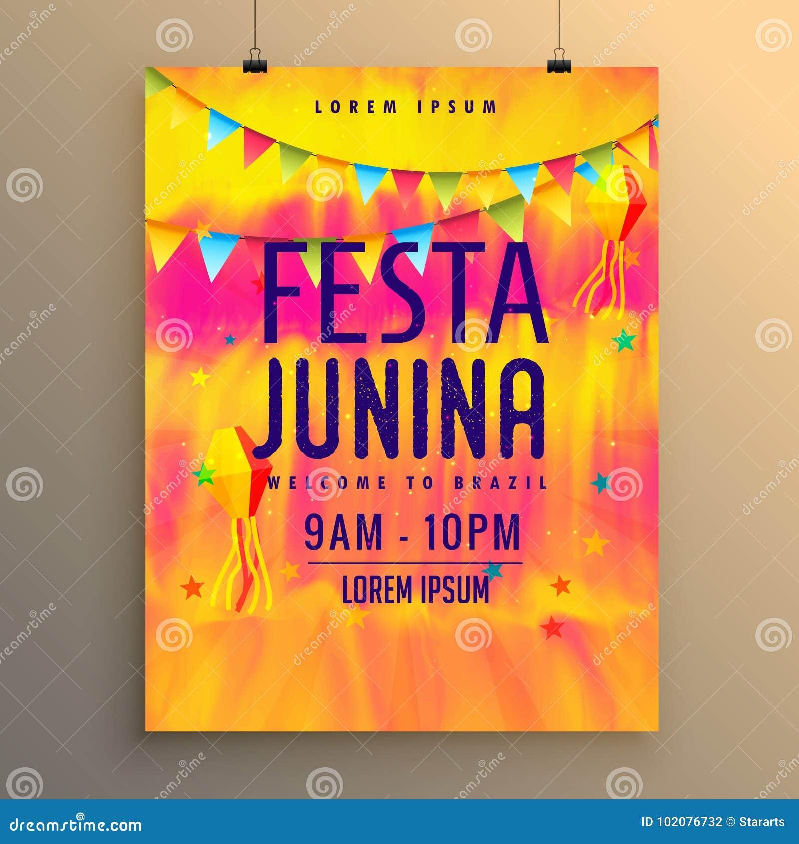 Festa Junina Flyer Design Invitation Template Stock Vector