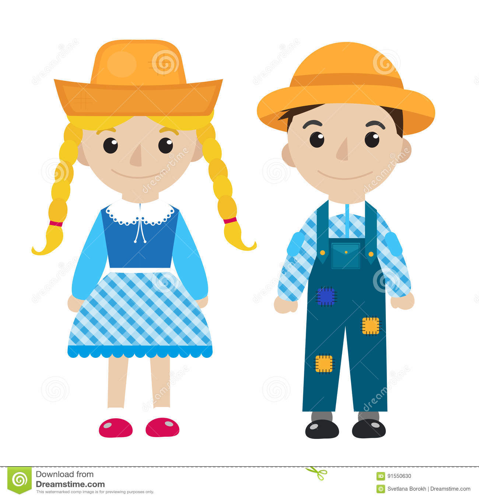 Festa Junina Girl And Boy In Traditional Festive Costume Icon Flat