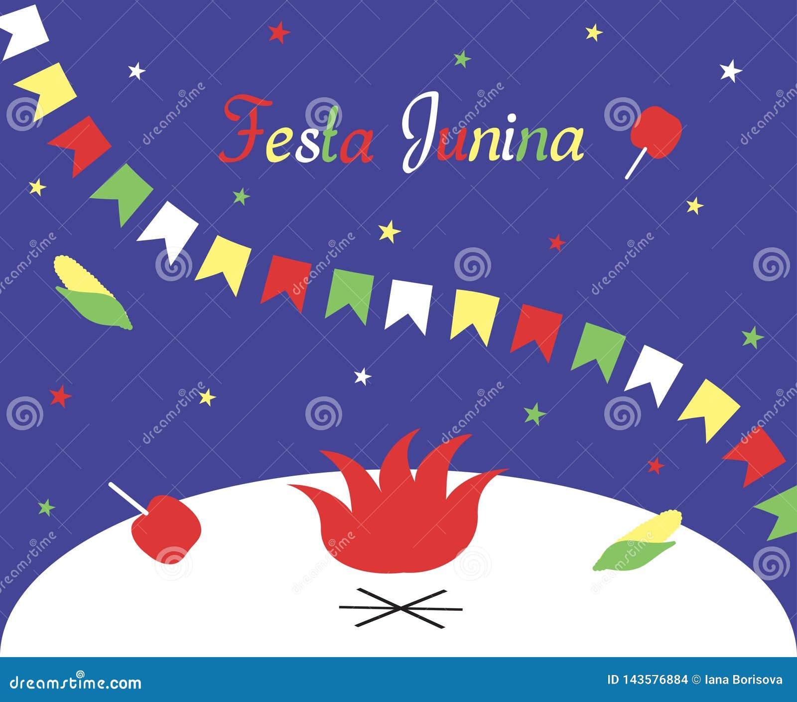 Festa Junina Het festival van Brazilië Juni Affiche, groetkaart of uitnodiging De inschrijving, een slinger van vlaggen, sterren,
