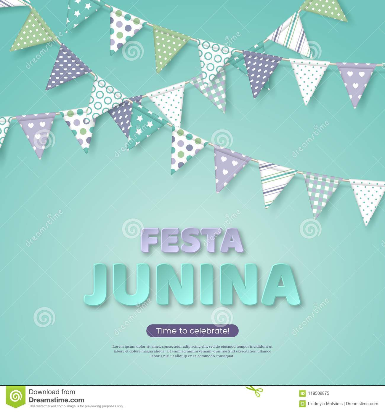 Festa Junina Holiday Design Paper Cut Style Letters With Bunting