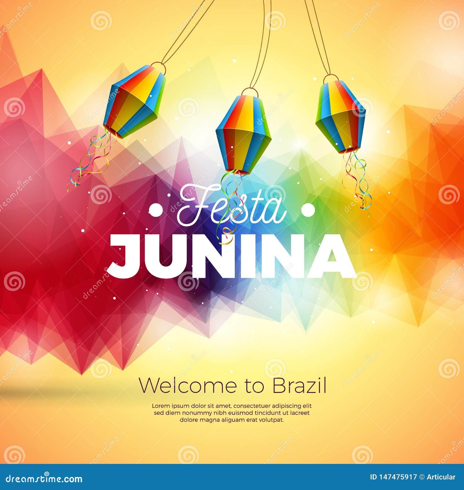 Festa Junina illustration med onAbstractbakgrund för pappers- lykta Design för vektorBrasilien Juni festival för hälsningkort
