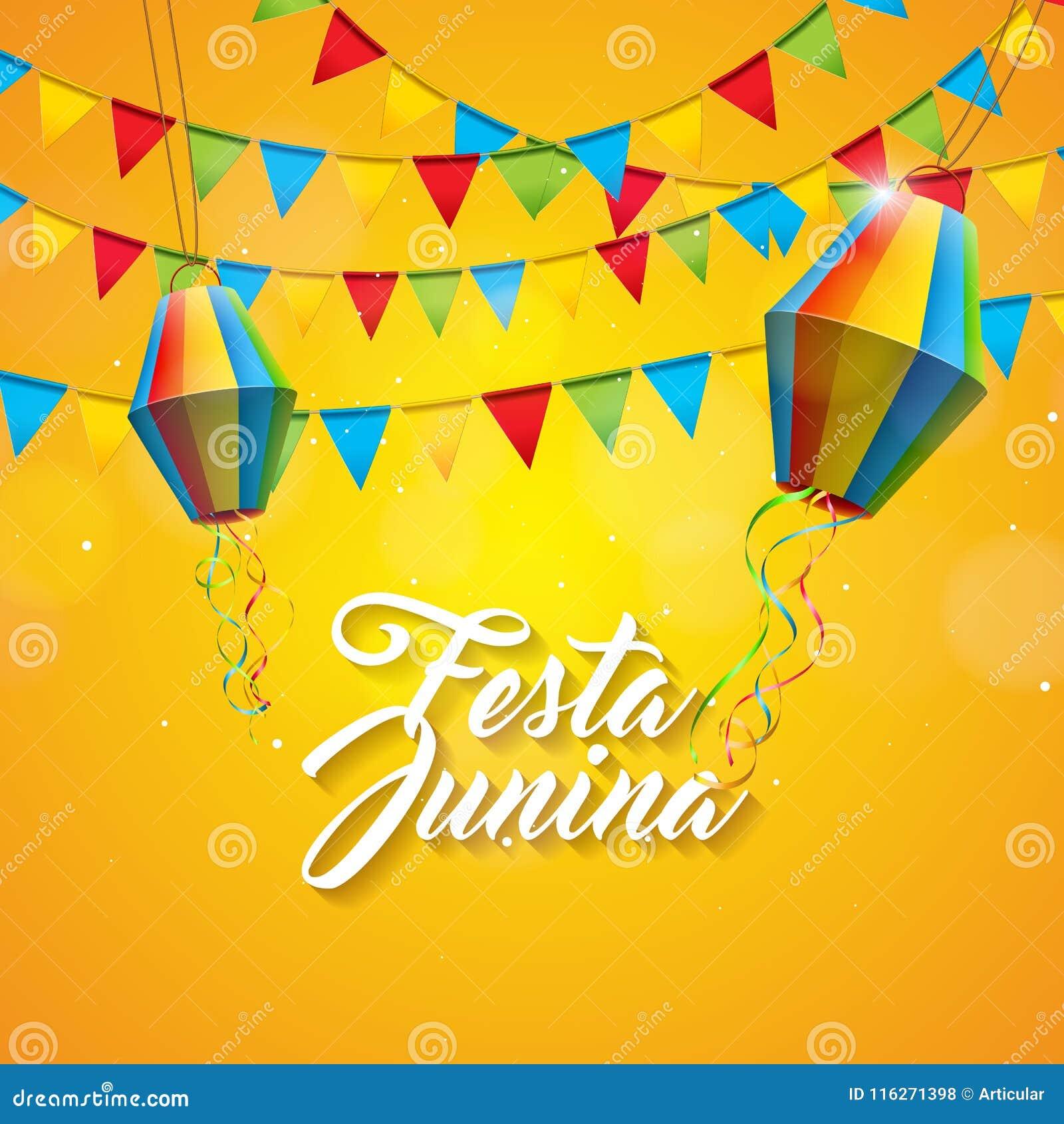 Festa Junina illustration med partiflaggor och pappers- lykta på gul bakgrund Design för vektorBrasilien Juni festival
