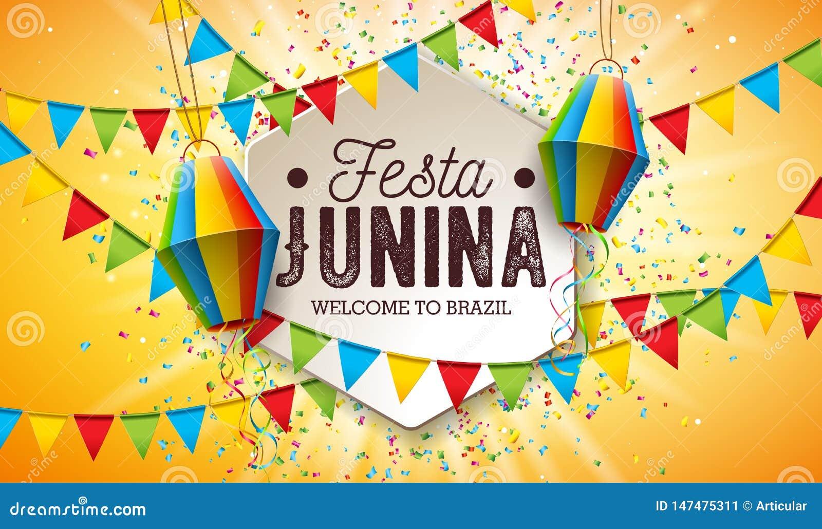 Festa Junina illustration med partiflaggor och pappers- lykta p? gul bakgrund Design f?r vektorBrasilien Juni festival