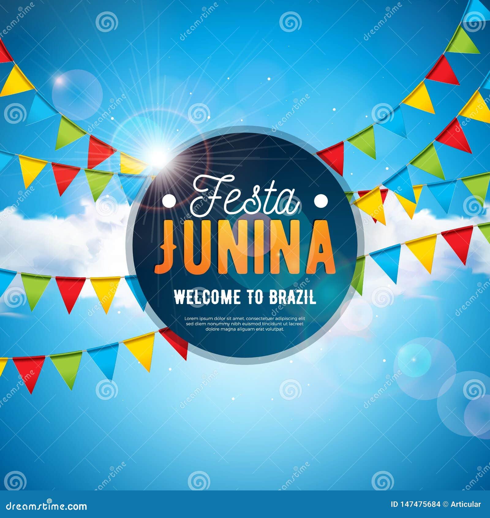Festa Junina illustration med partiflaggor och typografibokstav på blå bakgrund för molnig himmel Vektor Brasilien Juni