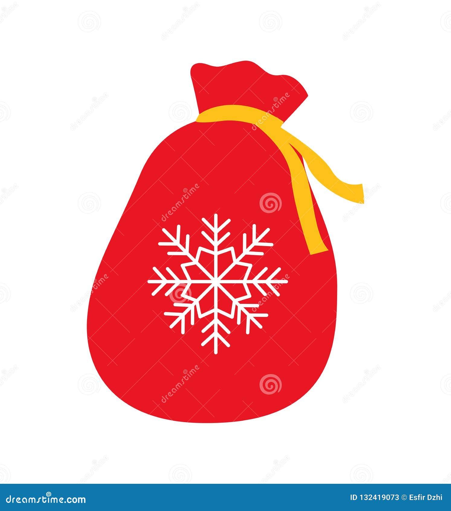 Festa rossa del sacco della borsa per i regali nuovo anno e Natale isolati su bianco