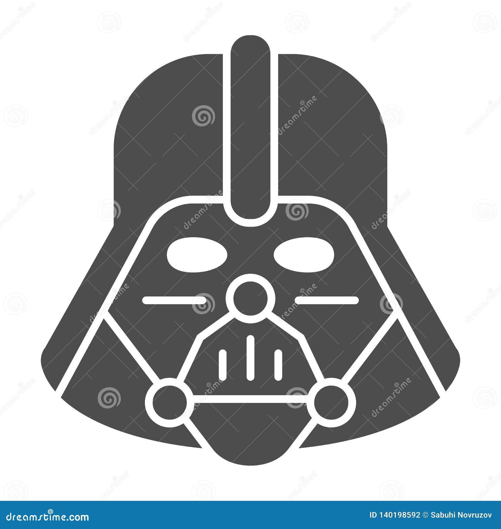 Feste Ikone Darth Vader Star Wars-Vektorillustration lokalisiert auf Weiß Leerzeichen Glyph-Artentwurf, entworfen