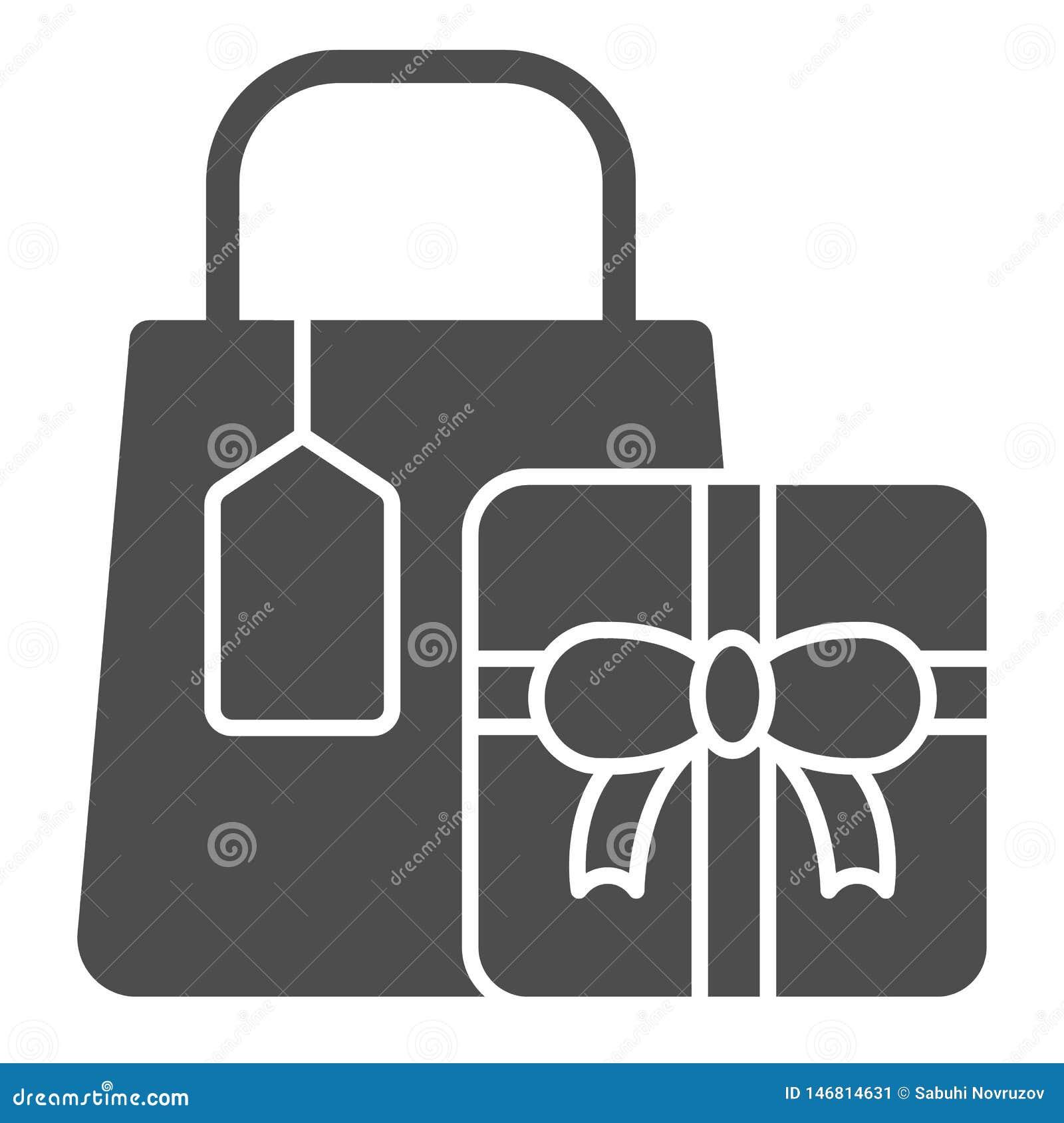 Feste Ikone der Einkaufsgeschenke Geschenkvektorillustration lokalisiert auf Wei? Einkaufspaket Glyph-Artentwurf, entworfen