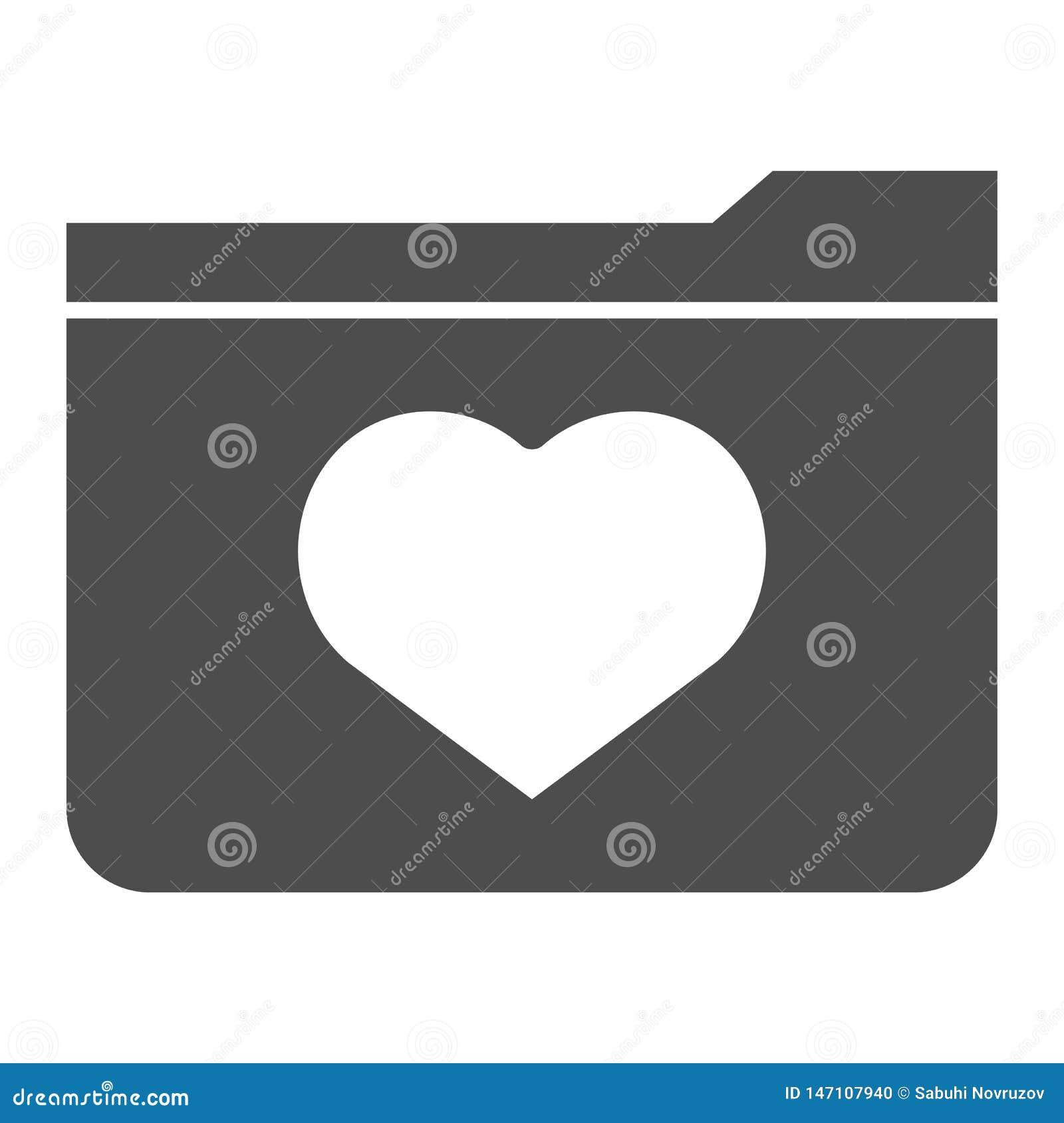 Feste Ikone der Lieblinge Dateiordner mit der Herzvektorillustration lokalisiert auf Wei? Computerordner Glyph-Artentwurf